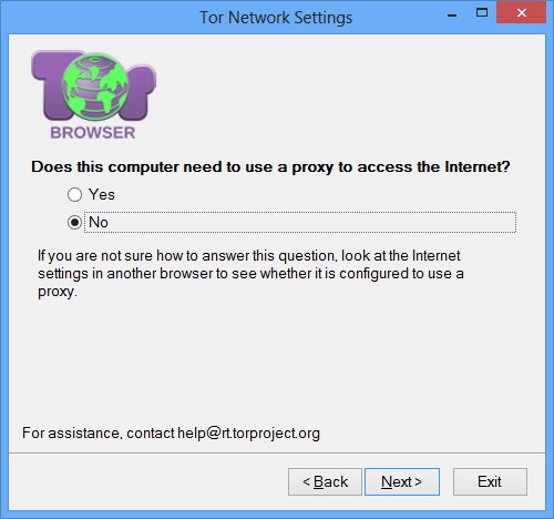 "Tor Network Settings ""Does this computer need to use a proxy to access the Internet?"" screen with ""No"" selected."